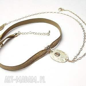 święta prezent, choker - beige smycz , choker, aksamitka, metal biżuteria