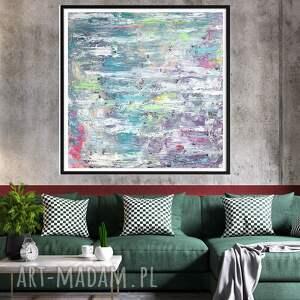 obraz ręcznie malowany 90x90, pastelowy, akryl na płótnie