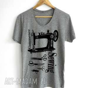 koszulki szara koszulka z nadrukiem dla krawcowej, tshirt, krawcowa, koszulka, szycie