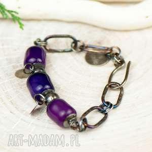 fioletowe agaty na surowo - bransoletka a643, masywna bransoleta
