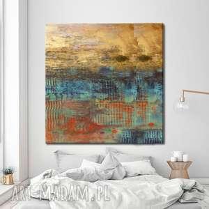 hand made dekoracje abstrakcja ze złotem - abstrakcyjne obrazy do modnego salonu