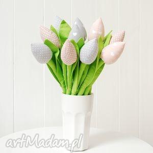 Tulipany, tulipany, kwiaty, bukiet, szyte, bawełniane, materiałowe