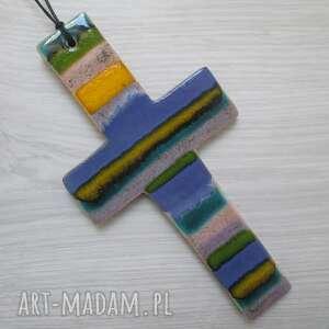 hand-made dekoracje kolorowy krzyżyk ceramiczny