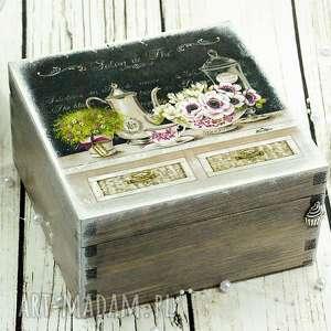 szkatułka/ herbaciarka- kwiatowa elegancja, herbaciarka, szkatułka, pudełko