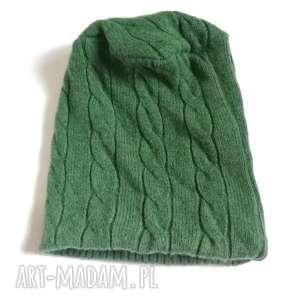 czapka zielona wełniana na cienkiej podszewce, wełna, ciepła, męska,