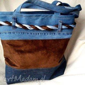 jeansowa torba z plecionką, torba, jeans, dżins, denim, wiosenna, bawełna