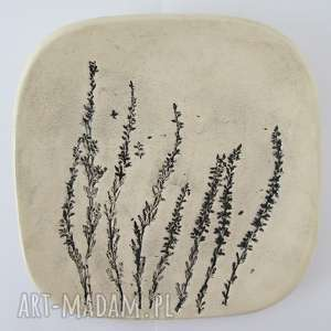 wrzosowy talerzyk, dekoracyjny, talerz, fusetka, roślinna, ceramiczna, ceramika