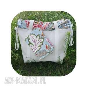 hand-made na ramię shopperbag płótno worek kwiaty ornament saszetka
