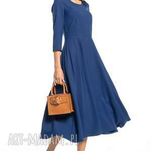 sukienki elegancka sukienka maxi z zamkiem krytym, t327, granatowa