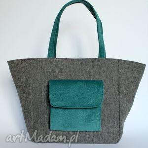 hand-made na ramię shopper bag worek - tkanina dark grey i morski