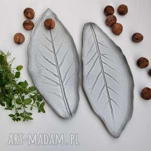 handmade ceramika talerz ceramiczny liść - zestaw 2 szt
