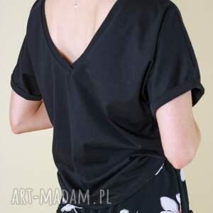 handmade bluzki czarny t-shirt z dekoltem na plecach, krótki rękawek wysoka jakość