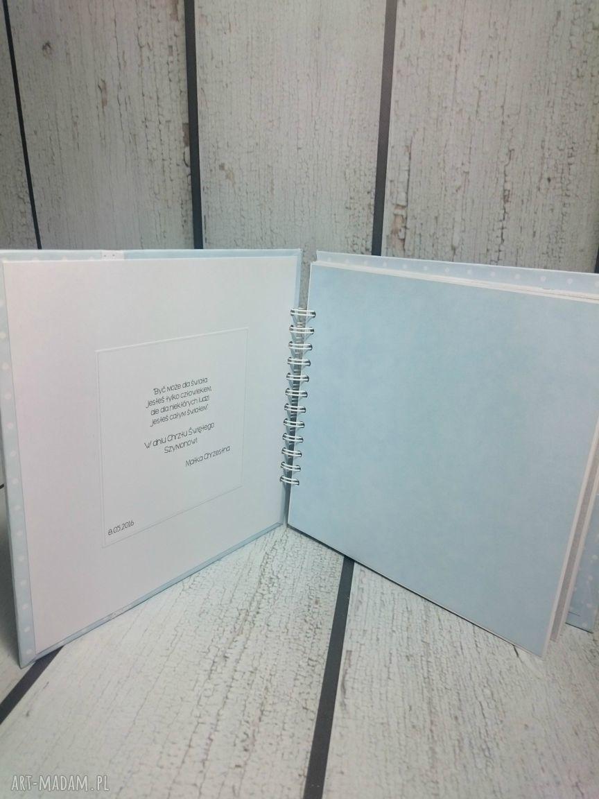 białe scrapbooking albumy narodziny album - metryczka.