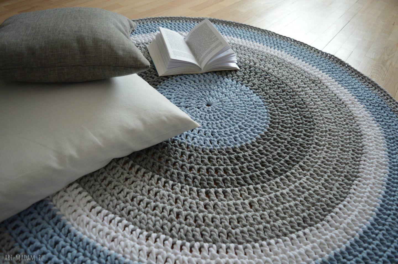 crochet dywany niebieskie ręcznie robiony okrągły dywan ze