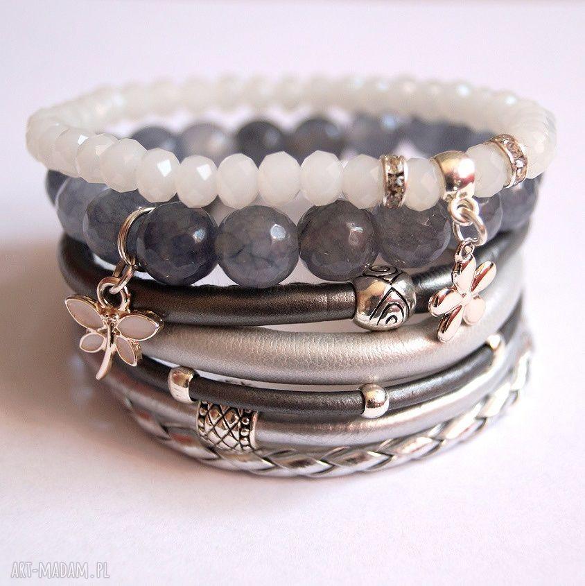 szare bransoletki rzemienie bransoleta fifty shades of silver