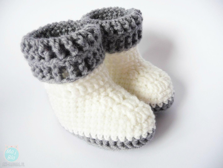 botki buciki szydełkowe białe