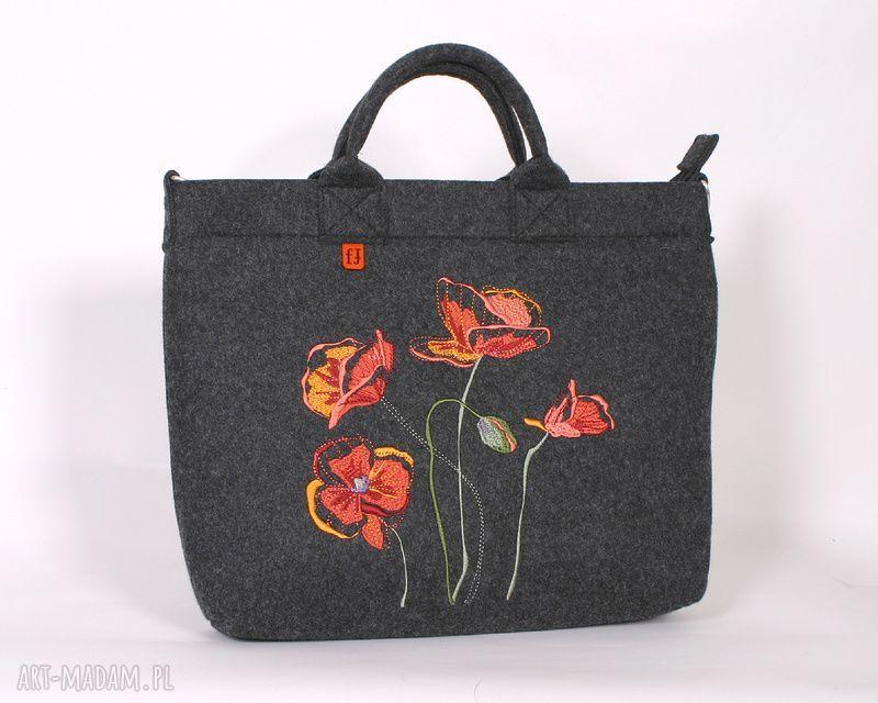 hand-made na laptopa duża ciemna filcowa torba z makami