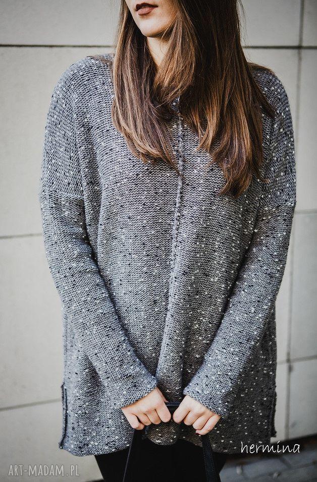ręcznie zrobione swetry szary melanżowy sweter