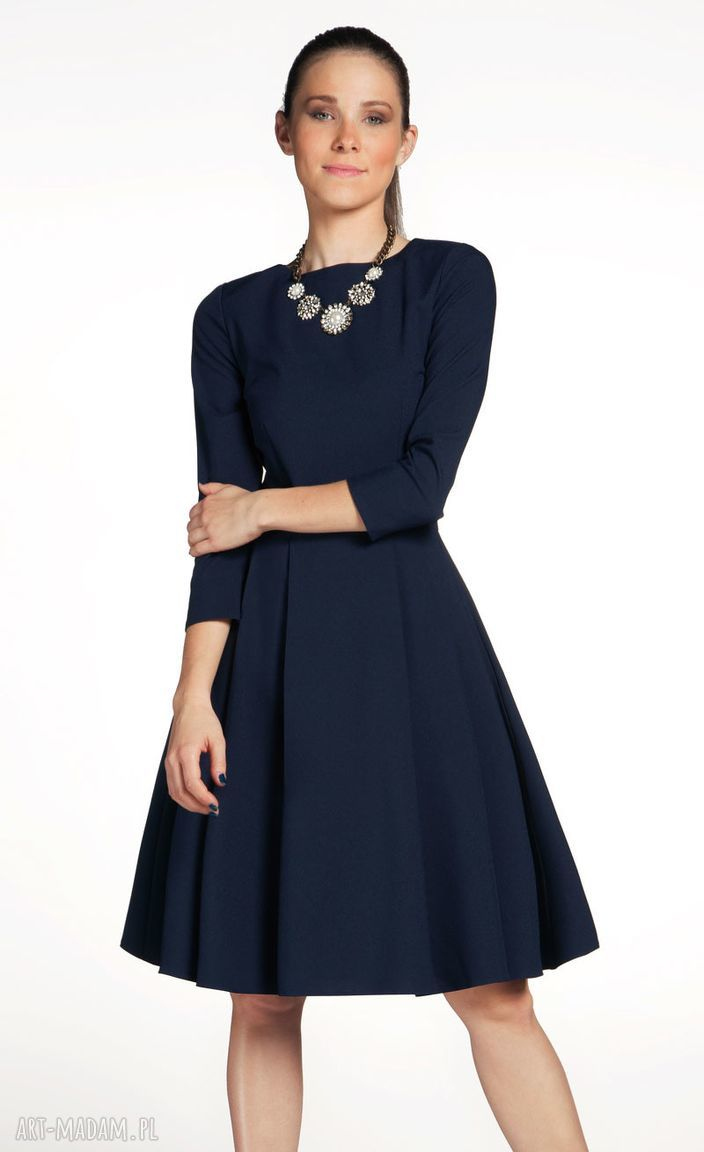 sukienki rozkloszowana sukienka zuza midi granat