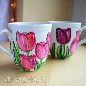 kubki dla pary ręcznie malowane tulipany dowolny napis, pary, dwojga, prezent