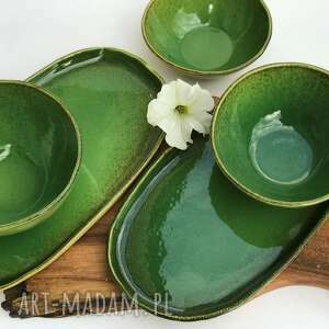 zestaw ceramiczny - patera 2 szt plus miska 3 szt, ceramika, patera, talerz