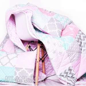 ręcznie robione koce i narzuty komplet art narzuta grey, pink and mint 155x210cm