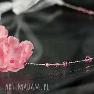 handmade ozdoby do włosów opaska z różowymi kwiatami