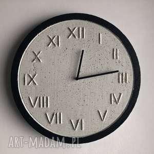 ręczne wykonanie zegary zegar betonowy handmade z betonu biały złoty czarny 45cm vintage