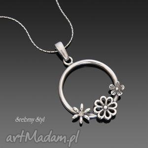 kwiatowa łączka - wianuszek, srebro, kwiaty, kwiatuszki, wianek, oksydowany