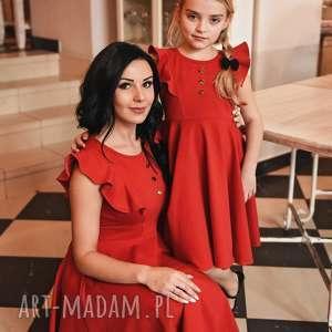 LATORI - Sukienka Dziewczęca z kolekcji Mama i Córka dla córki LD45/3 (czerwony)
