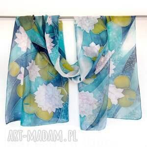 chustki i apaszki pareo - plażowy szal jedwabny xl ręcznie malowany w lilie wodne