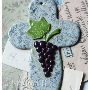 hand made ceramika krzyż z kiścią winogrona