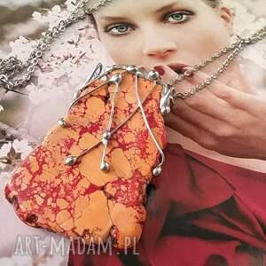 ręcznie zrobione naszyjniki naszyjnik z dużym pomarańczowym howlitem