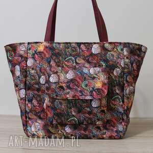 na ramię shopper bag z kieszonką klapką - jesienny melanż, elegancka, pakowna