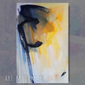 żółta abstrakcja 100x70, duży obraz do salonu, salonu