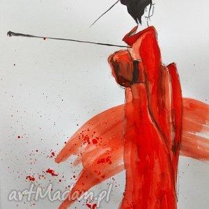 akwarela japonka artystki plastyka adriany laube, akwarela, japonka, gejsza