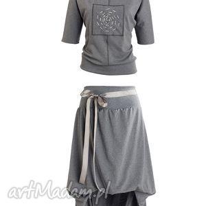 Grey Moon, komplet, spódnica, bluza, wygodny, bawełniany, dresowy