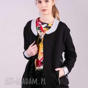 Kurtka bomberka dresowa-czarna trzyforu kurtki, bluzki, sukienki