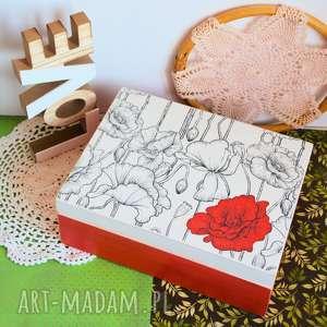 duże drewniane pudełko - makowe pole, pudełko, maki, drewno, decoupage, mama