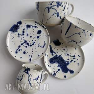 handmade ceramika zestaw składający sie z dwóch filiżanek ze spodkami
