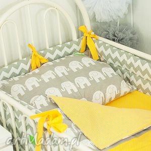 ręcznie robione pokoik dziecka pościel szare słonie żółty