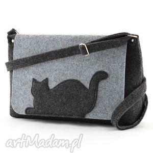 Torebka Filcowa- Średnia torebka z leżącym kotkiem, filc, torebka, kot, kotek