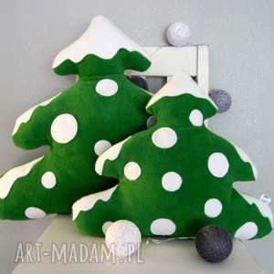 handmade na święta prezenty mała choinka z polaru - poduszka ozdobna