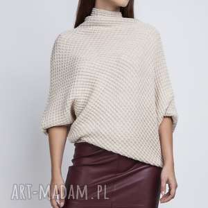 Sweter oversize, SWE049 beż MKM, onesize, luźny, szeroki, nietoperz, dzianinowy