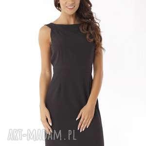 Dopasowana sukienka odcięta w pasie czarna, elegancka-sukienka, sukienka-tuba
