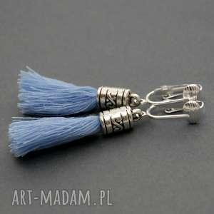 sisu klipsy z chwostami, sznurek, eleganckie, wiszące, małe, błękitne, chwost