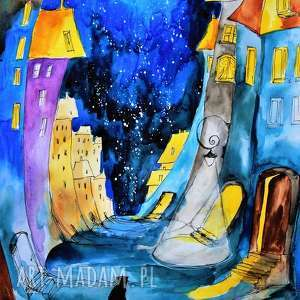 akwarela kocie opowieści artystki plastyka adriany laube, akwarela, kot, miasto, noc