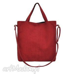 16-0024 czerwona duża torebka damska z paskiem na ramię jay - skórzane