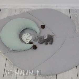 pokoik dziecka duża mata liść do zabawy szara waffle cotton