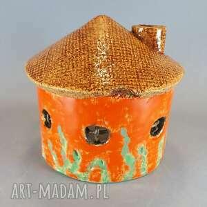 dekoracje domek lampion gliniany, tealight, upominek, ceramika